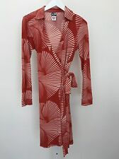DIANE VON FURSTENBERG DVF JEANNE RUST FAN PRINT SILK WRAP DRESS SIZE 8 NWOTS!