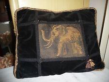 """#930 antique tapestry THROW PILLOW Black Velvet W ELEPHANT  Tapestry 17"""" x 15"""""""