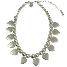 Matte silver heart charm graduated bead short fitting choker necklace jewellery