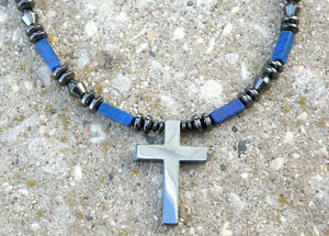 Men's Women's Holy Cross Pendant Lapis Healing Hematite Magnetic Necklace
