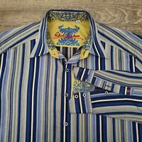 Robert Graham Men's Shirt Size Large Contrast Cuff Stripe Blue Gold Embossed