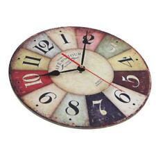 Vintage bois grand rond maison chambre rétro temps cuisine horloge murale