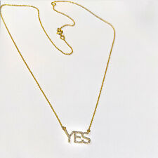 YES Initial 14K Yellow Gold Diamond Pave Pendant Indian Handmade Chain Necklace