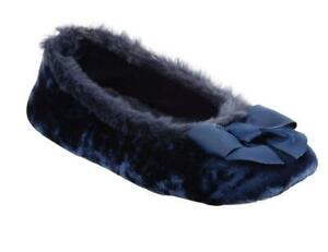 Ladies Isotoner Irradescent VELOUR Ballet Style Slippers Soft Sole Dk Navy Blue