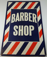 """RED WHITE BLUE STRIPES BARBER SHOP 23 1/2""""x16"""" HEAVY DUTY METAL ADVERTISING SIGN"""