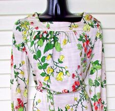 Vtg 60-70s Floral MOD L/S Boho Office House Day Party Secretary Sissy Dress S