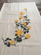 Vintage Alfred Shaheen hand printed Hawaiian linen fabric yellow rose 2 panels