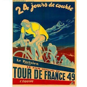 "1949 Tour De France Bicycle Poster vintage bicycle art 24"" x 36"""
