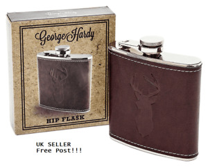 George Hardy Hip Flask Pocket Size Faux Leather New