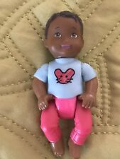 Fisher Price Loving Family African American Boy Baby Doll in Blue Mouse Face