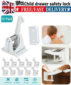 10 x Child Safety Cabinet Locks, Baby Cupboard Locks for Drawers Kitchen Cabinet