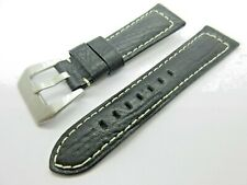 Black Padded Leather 24mm Watch Strap Band  Silver Buckle White Stitching