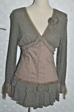 Zone Bleue Boho Brown Stretch Snap Front  Sweater Tunic w/ Lace Trim Size M nwt