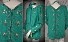 vintage Miss Elliette green crepe chiffon beaded sequin pearl rhinestones top 12