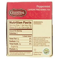 CELESTIAL SEASONING PEPPERMINT HERBAL TEA BAGS 20CT - PACK OF 4