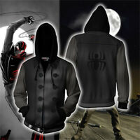 Spider-Man Noir Cosplay Hoodie Sweatshirt Zip Coat Jacket Unisex Cosplay Costume