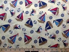 Nautical Toss Ships Flags Anchors Wheels Red Brown Blue Yellow Bty Fabric Sew .