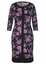 3/4 sleeve Banded STRETCHY shades of Purple FLORAL Party DRESS 18 NEW