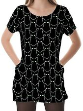 Black Cat Women Scoop Neckline Pockets Top Shirt Blouse b16 acr03380