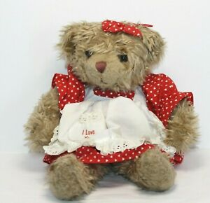 """Russ BRITTANY Teddy Bear in Red White Check Dress w/Apron Stuffed Toy Plush 14"""""""