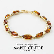 ITALIAN MADE BALTIC AMBER BRACELET IN 9CT GOLD -GBR084 RRP£495!!!