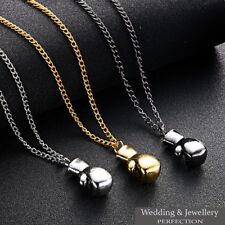 Mens Boxing Glove Pendant Necklace Chain Steel Charm Silver Gold Rocky Gift Men