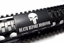 Punisher - DEATH BEFORE DISHONOR - Custom Picatinny Rail Cover, Black Retainer