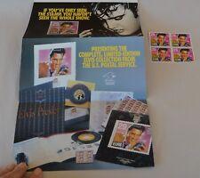 Vtg Us Postal Service Promotional Flyer & Block 4 29-cent Elvis Stamps #2721