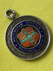 Watch Fob  Silver & Enamel Fob Football Nottingham Spartan 1923 (1043J)