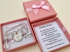 LUCKY SIXPENCE CHRISTENING GIFT,BAPTISM GIRL/BOY Pin Charm PERSONALISED GIFT BOX
