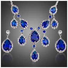 S14 Made Using Swarovski Crystals The Dona Blue Teardrop Necklace Set
