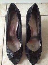 Next Ladies Black High Heeled Peep Toe Shoes Size 4 1/2 / 37 1/2 Great Condition