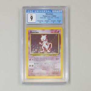 Pokemon Mewtwo Base Set 1999 Unlimited Holo Rare 10/102 CGC Mint 9 Graded Card