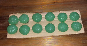 Vtg jadeite green glass 1930s drawer pull cabinet knobs glass #12 (not Glow)