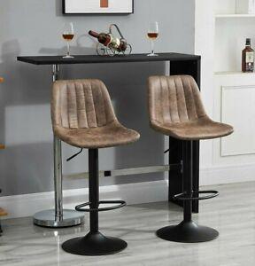 Vintage Retro Leather Bar Stool Footrest Height Adjustable 360° Swivel Set of 2