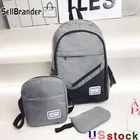 3PCS/Set Unisex laptop Backpack Shoulder Bag Fashion Bookbag Travel School Bag