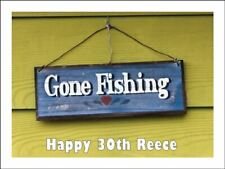 GONE FISHING  A4 Edible Icing Cake Topper Birthday Party Decoration
