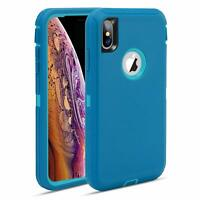 For IPhone Xs Max Heavy Duty Tough Rugged Teal/Turquoise Case fit Otterbox Clip