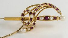 ANTIQUE 19th CENTURY 14K GOLD DIAMOND RUBY & PEARL JABOT SWORD PIN