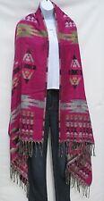 Yak Wool Blend|Shawl/Throw|Handloomed|Nepal|Reversible|Pink/Purple/Tan/Black