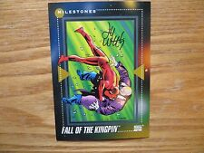 1992 MARVEL UNIVERSE III DAREDEVIL VS KINGPIN CARD SIGNED LEE WEEKS,WITH POA