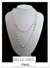 Luxus Endlos Perlenkette Belle Miss Paris Kette Perlen Halskette Collier Strass