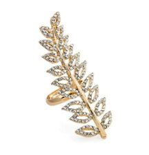 Gold colour crystal leaf design adjustable ring