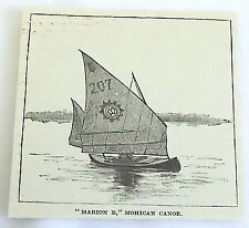 1886 magazine engraving~ Marion B - Mohican Canoe