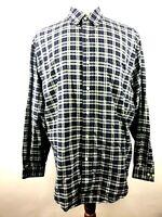 Eddie Bauer Multi Plaid Button Down Shirt L/S Logger Heavy Cotton Mens Sz Large