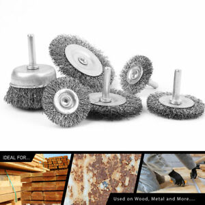 6 Wire Wheel Cup Brush Set Coarse Crimped Carbon Steel Shank Drill Attachments