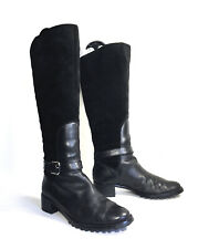 ETIENNE AIGNER  E Vandalay Tall Riding Boots Tall Black Leather & Suede Sz 6.5