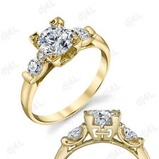 1.50 CT Round Cut Diamond Solitaire Engagement Ring Solid 10k Yellow Gold