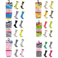 Ladies Womens Socks 6 Pairs Funky Novelty Coloured Design Adults UK 4-8