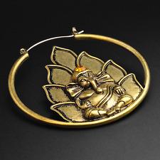 Ganesh Plug Hoops Earrings   Antique Gold   Ear Stretchers   Ear Hangers   Pair